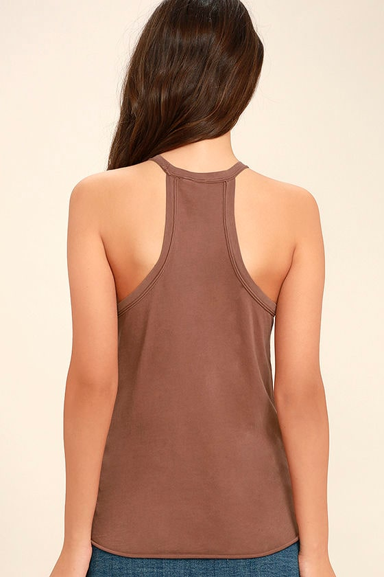 Others Follow Allyson Washed Brown Tank Top 4