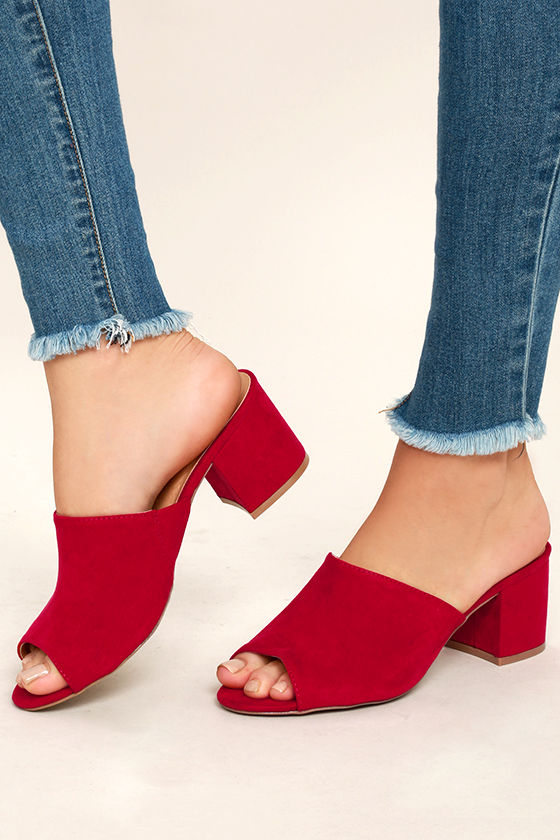 new authentic best deals on latest design Chic Dark Red Heels - Vegan Suede Mules - Red Mules - Peep-Toe ...