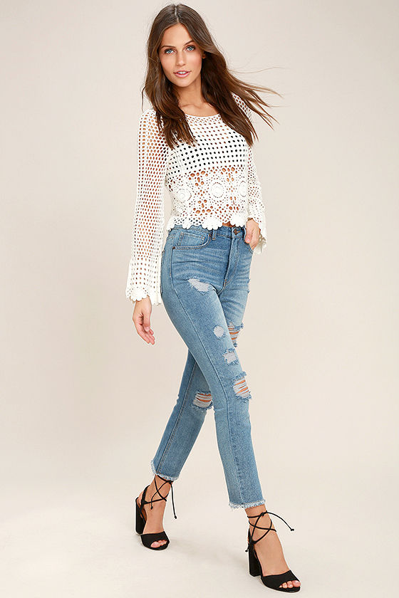 In the Works Light Wash High-Waisted Distressed Jeans 1 - Cool Light Wash Jeans - Distressed Jeans - High-Waisted Jeans - $49.00