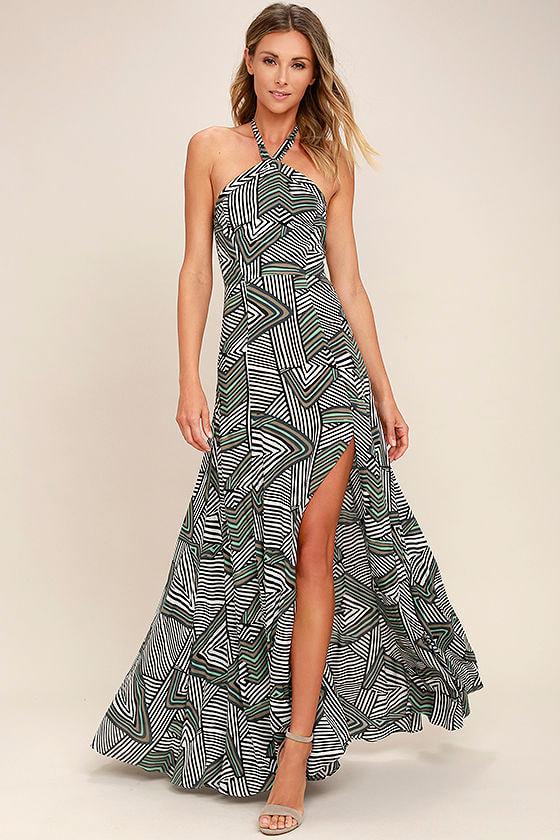 stylish black and white print dress halter dress