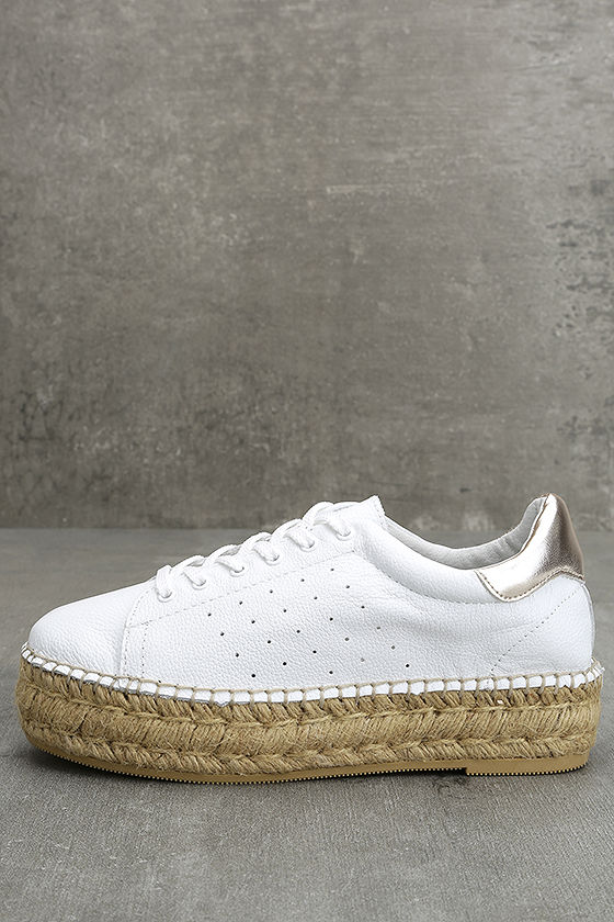 Steven by Steve Madden Pace White and Gold Leather Sneakers 2