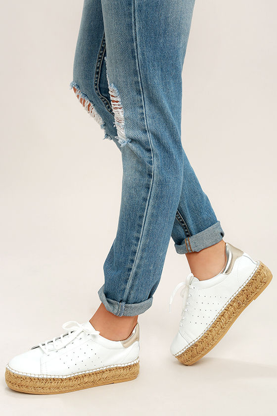Steven by Steve Madden Pace White and Gold Leather Sneakers 3