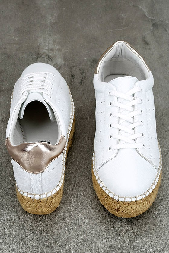 Steven by Steve Madden Pace White and Gold Leather Sneakers 4