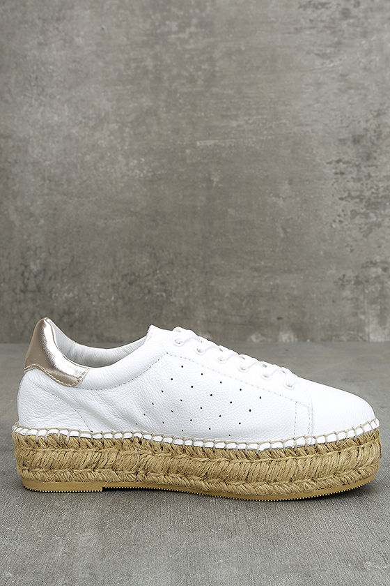Steven by Steve Madden Pace White and Gold Leather Sneakers 5