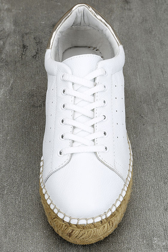 Steven by Steve Madden Pace White and Gold Leather Sneakers 6