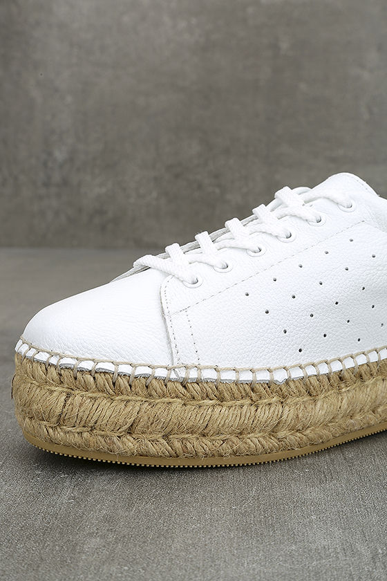 Steven by Steve Madden Pace White and Gold Leather Sneakers 7