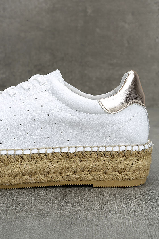 Steven by Steve Madden Pace White and Gold Leather Sneakers 8