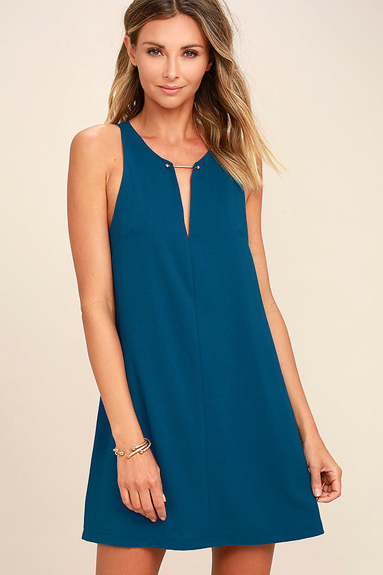 Near or Bar Teal Blue Shift Dress 1