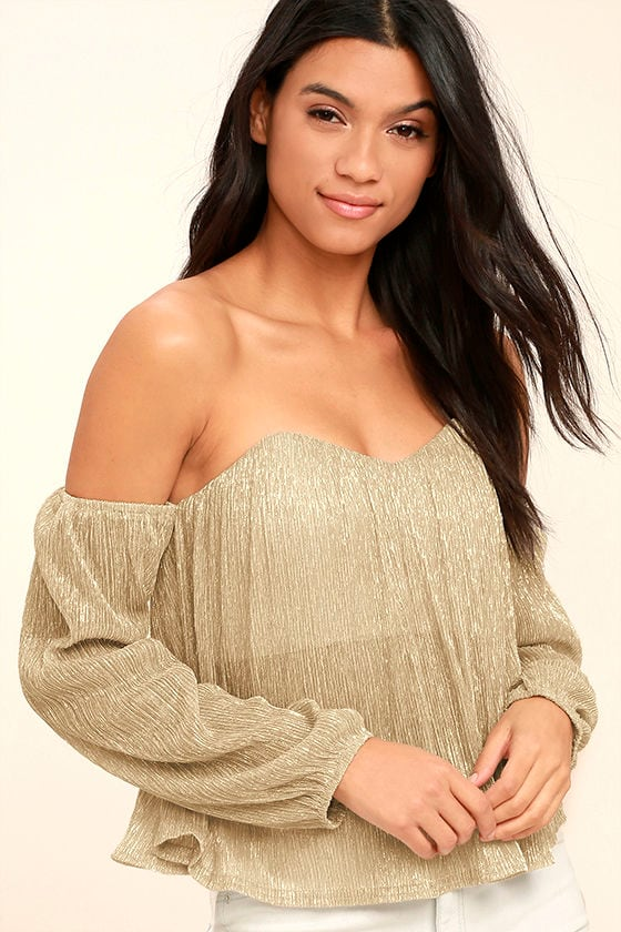 2e93020afd1d2c Chic Gold Top - Off-The-Shoulder Top - Long Sleeve Top - Crop Top - $57.00