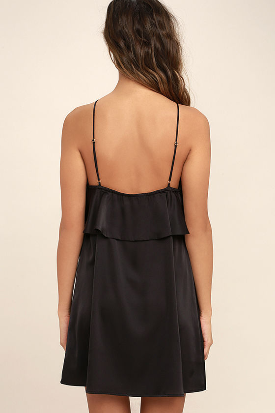 Spice Twirl Black Satin Dress 4