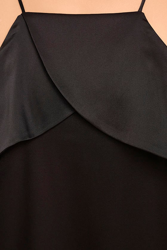 Spice Twirl Black Satin Dress 6