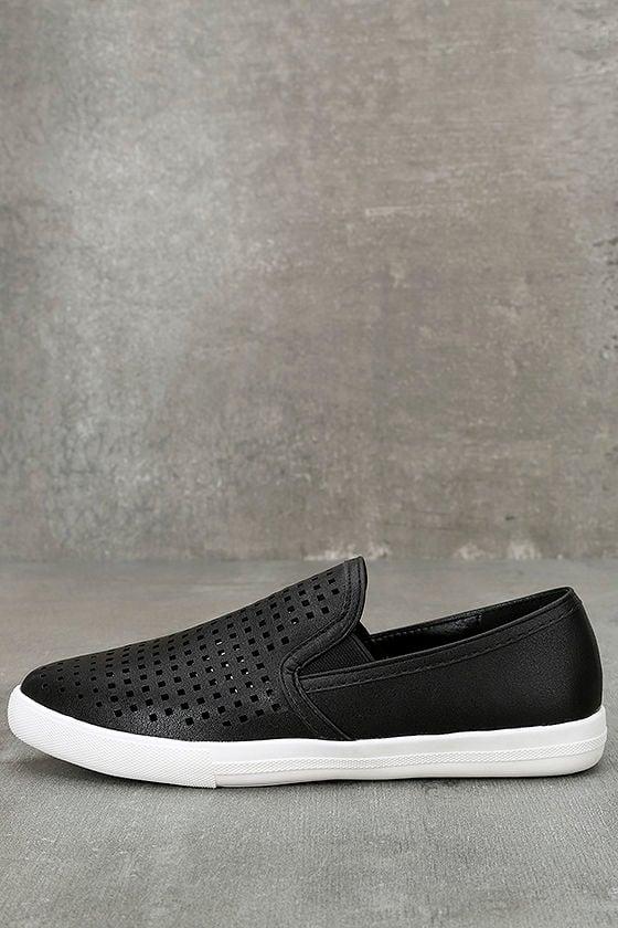 Perla Black Perforated Slip-On Sneakers 1