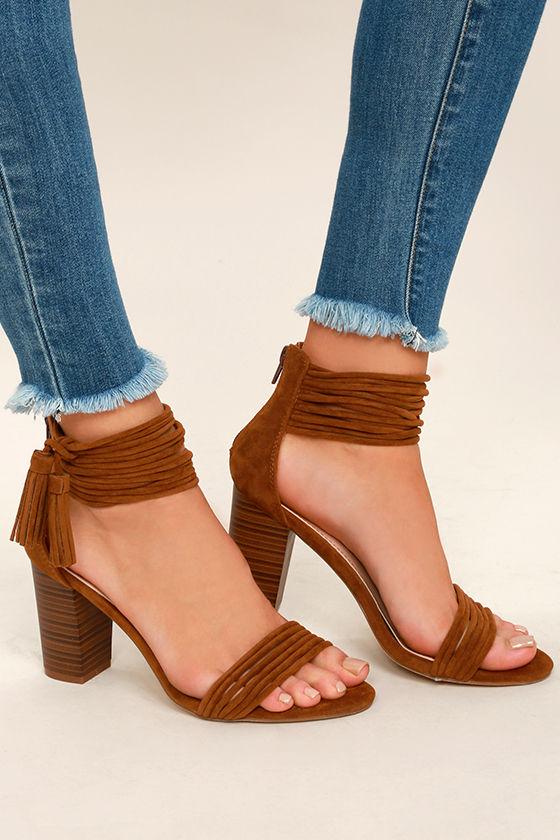 e99c5405a0a4 Cute Tan Heels - Vegan Suede Heels - Ankle Strap Heels - Tassel Heels -   38.00