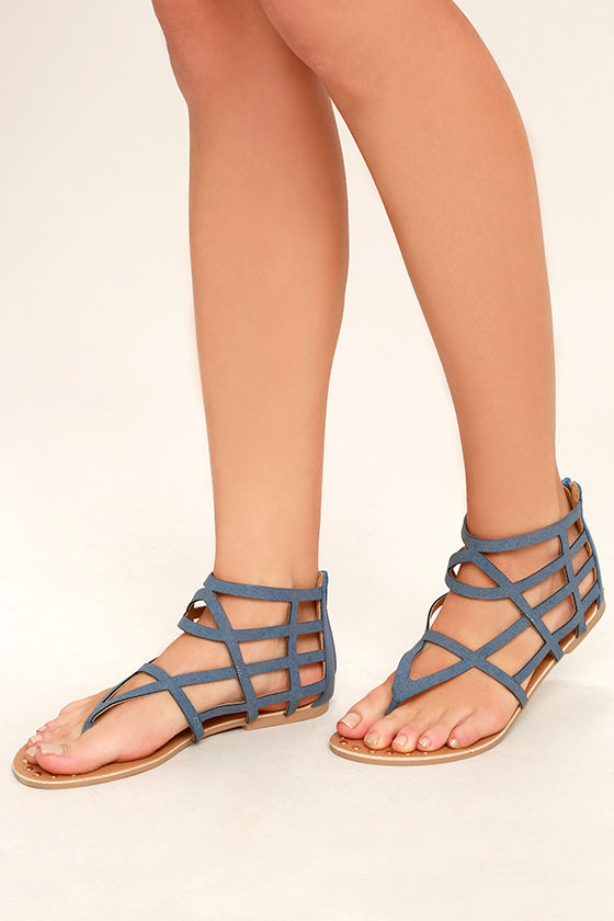 0223b9eab639 Cute Denim Print Sandals - Flat Sandals - Gladiator Sandals - Caged ...