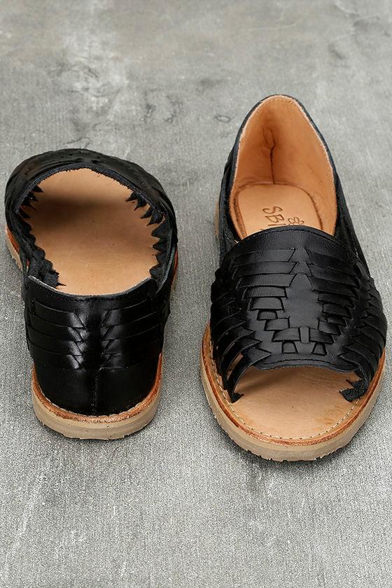 Sbicca Jared Black Leather Huarache Flats 3