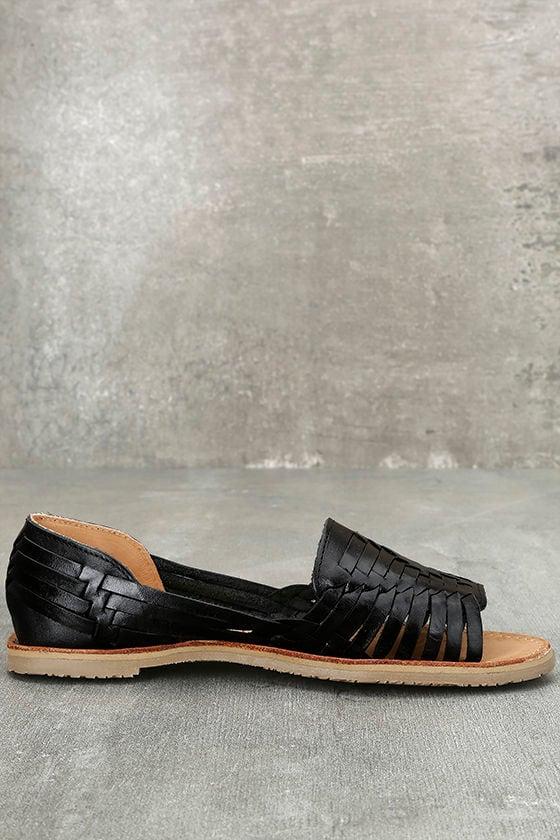 Sbicca Jared Black Leather Huarache Flats 4
