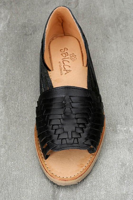Sbicca Jared Black Leather Huarache Flats 5