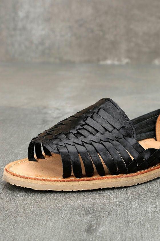 Sbicca Jared Black Leather Huarache Flats 6