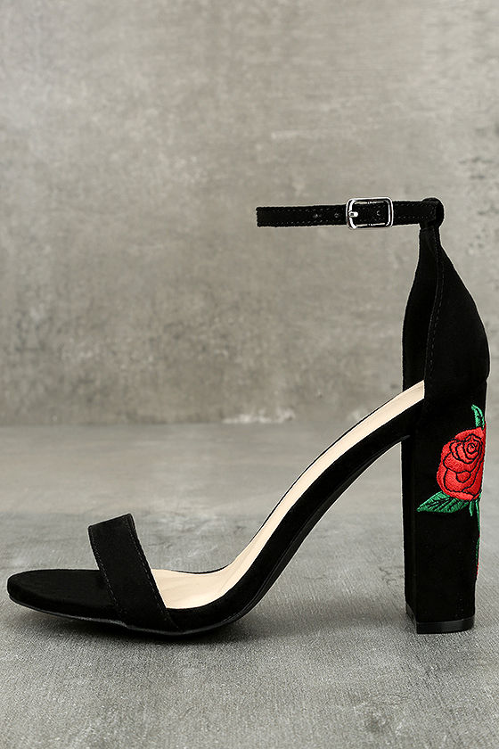 Felora Black Suede Embroidered Ankle Strap Heels 2