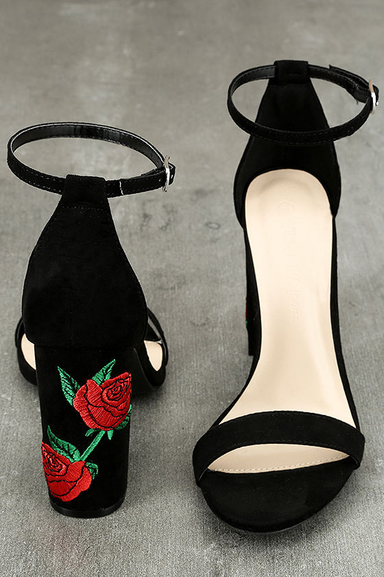 Felora Black Suede Embroidered Ankle Strap Heels 3