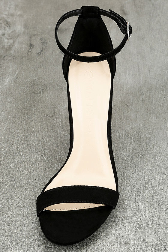 Felora Black Suede Embroidered Ankle Strap Heels 5