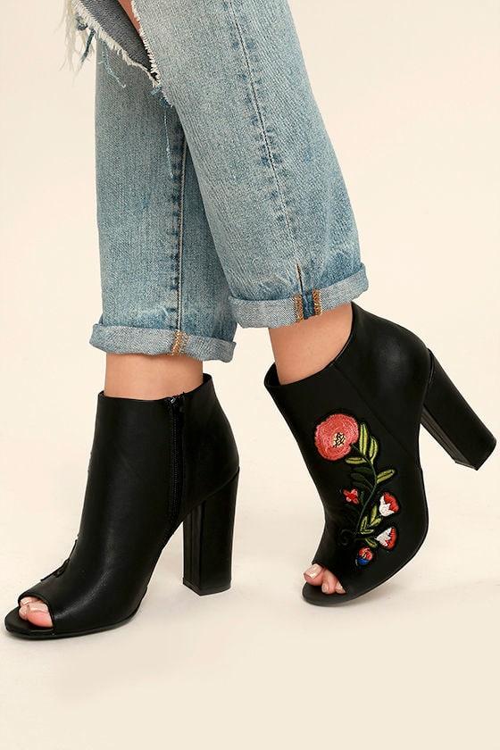 003beea3a7f6 Fun Black Booties - Embroidered Booties - Peep-Toe Booties -  49.00