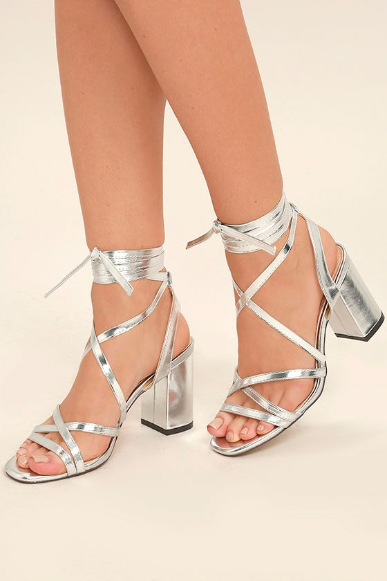 88bf85e5e4b Sexy Silver Heels - Lace-Up Heels - Leg-Wrap Heels - Strappy Silver Heels -   33.00