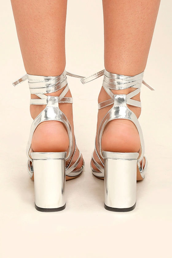 Oni Silver Lace-Up Heels 4