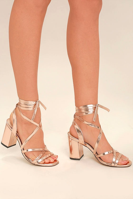 Sexy Rose Gold Heels - Lace-Up Heels - Leg-Wrap Heels - Strappy ...
