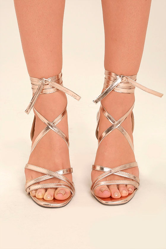 afb23c7fec04 Sexy Rose Gold Heels - Lace-Up Heels - Leg-Wrap Heels - Strappy Rose Gold  Heels -  33.00