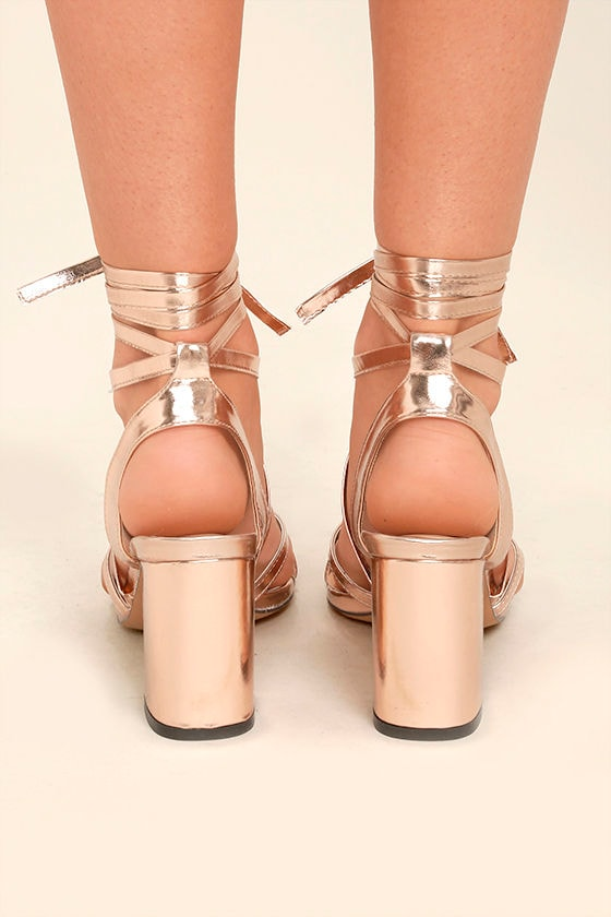 Oni Rose Gold Lace-Up Heels 4