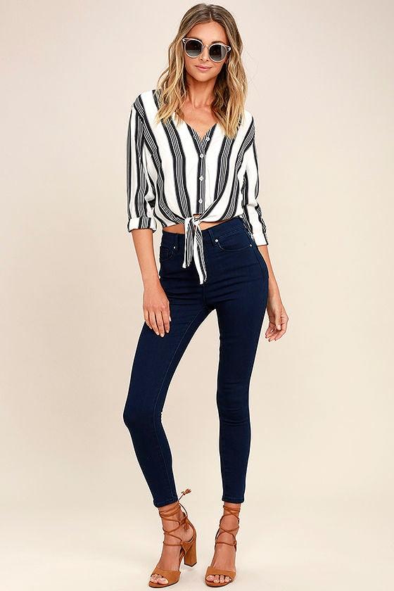 Go On Dark Wash High-Waisted Skinny Jeans 1