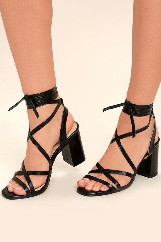 Oni Black Lace-Up Heels 1
