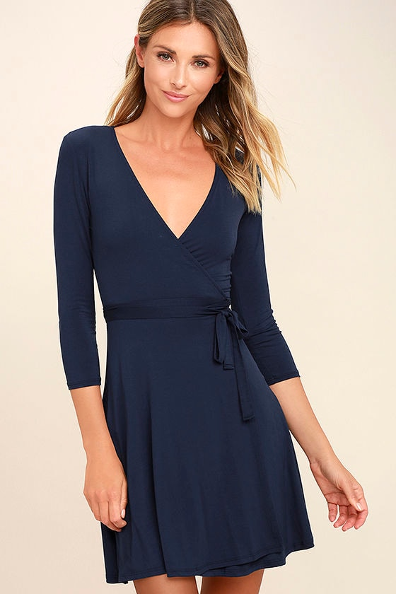 Cool Navy Blue Dress - Wrap Dress - Three-Quarter Sleeve Dress ...