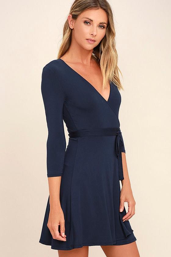 Twirl-Worthy Navy Blue Wrap Dress 3