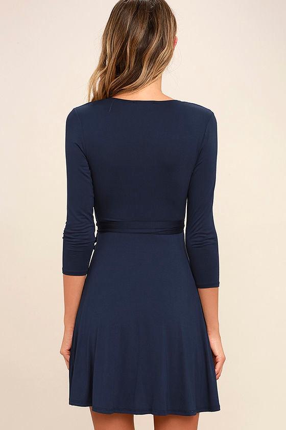 Twirl-Worthy Navy Blue Wrap Dress 4