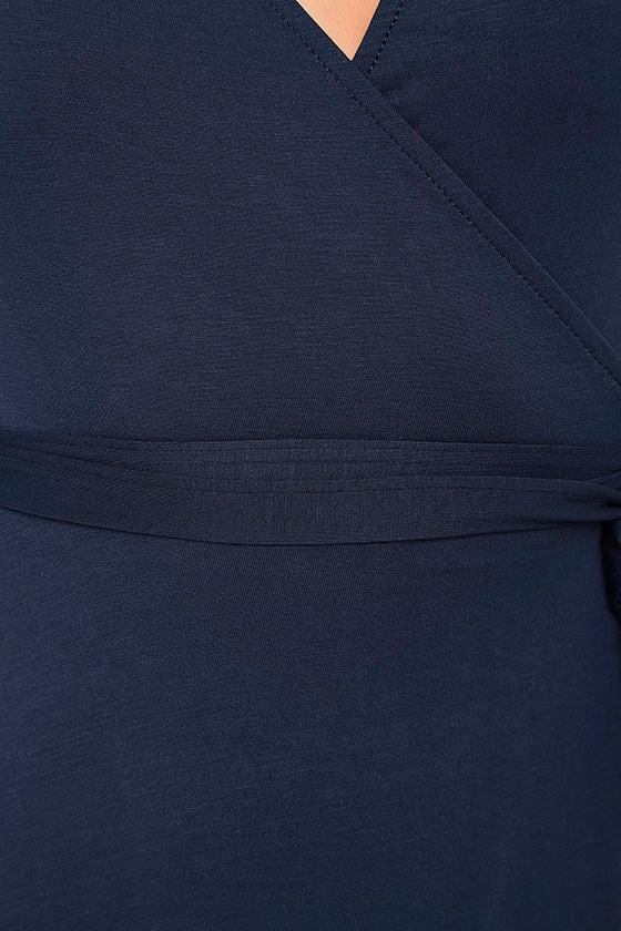 Twirl-Worthy Navy Blue Wrap Dress 6