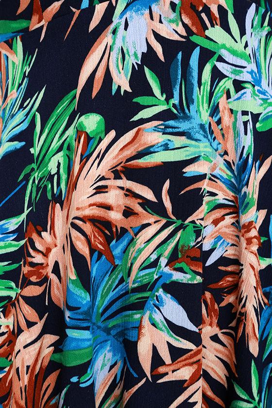 Samana Bay Navy Blue Floral Print Dress 6
