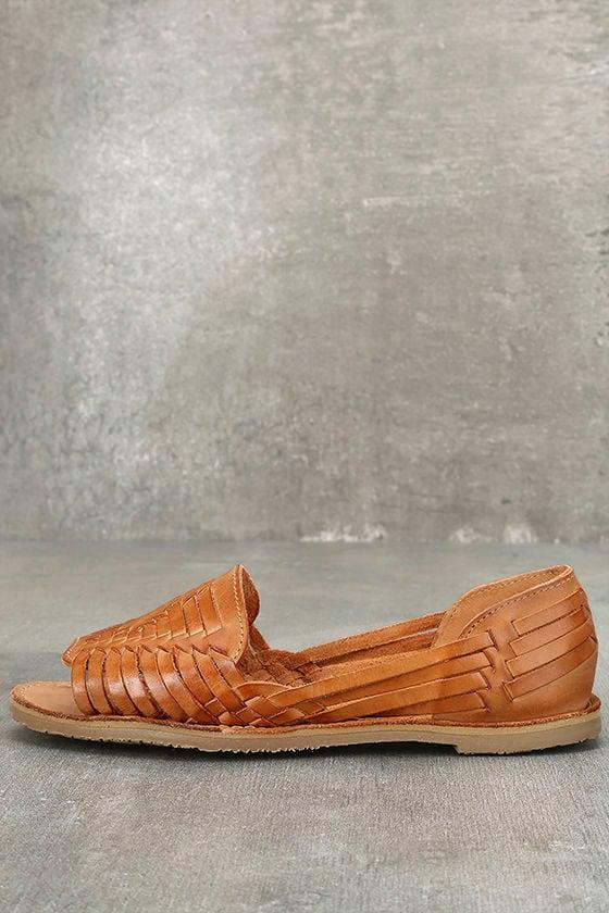 Sbicca Jared Tan Leather Huarache Flats 1