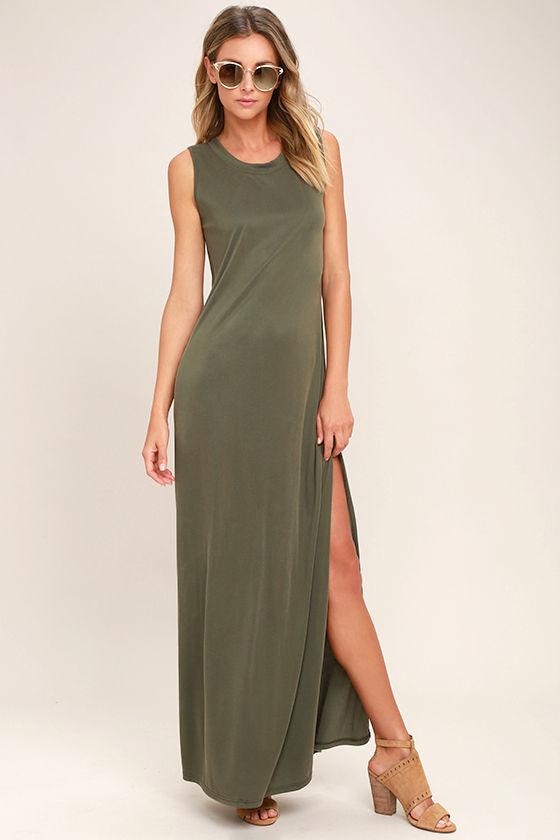1edfd0ff1fb Cute Olive Green Dress - Ribbed Knit Dress - Sleeveless Dress - $49.00