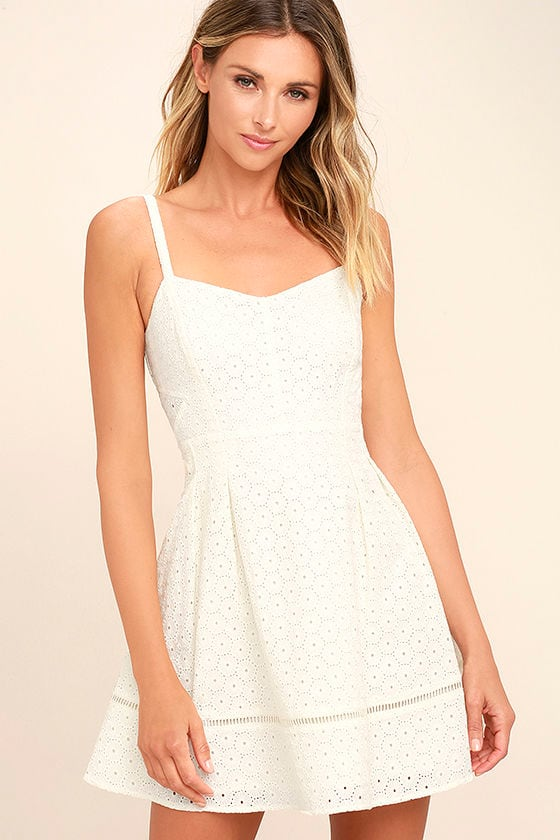 e467e47983b8 Jack by BB Dakota Gaines Dress - Ivory Lace Dress - Skater Dress -  71.00
