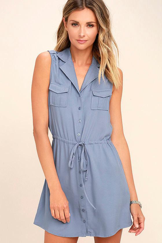 Jack by BB Dakota Santos Slate Blue Sleeveless Dress 1
