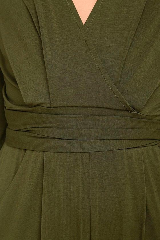 Somewhere Tonight Olive Green Long Sleeve Romper 6