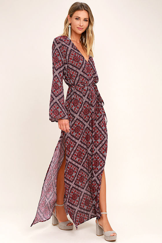 468015ea622e Boho Burgundy Print Dress - Long Sleeve Dress - Bell Sleeve Dress ...