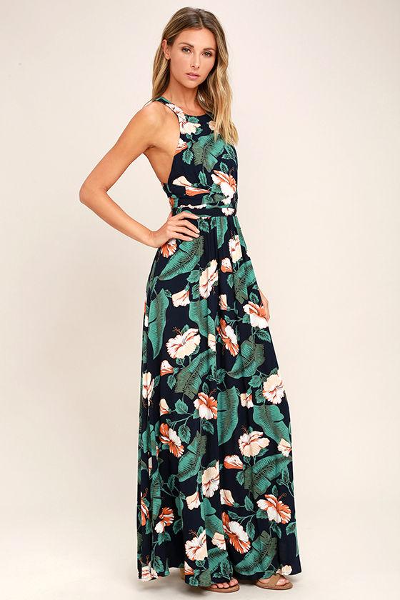 Temptation Island Navy Blue Floral Print Maxi Dress 2
