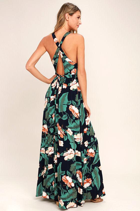 Temptation Island Navy Blue Floral Print Maxi Dress 3