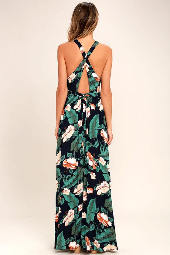 Temptation Island Navy Blue Floral Print Maxi Dress 4