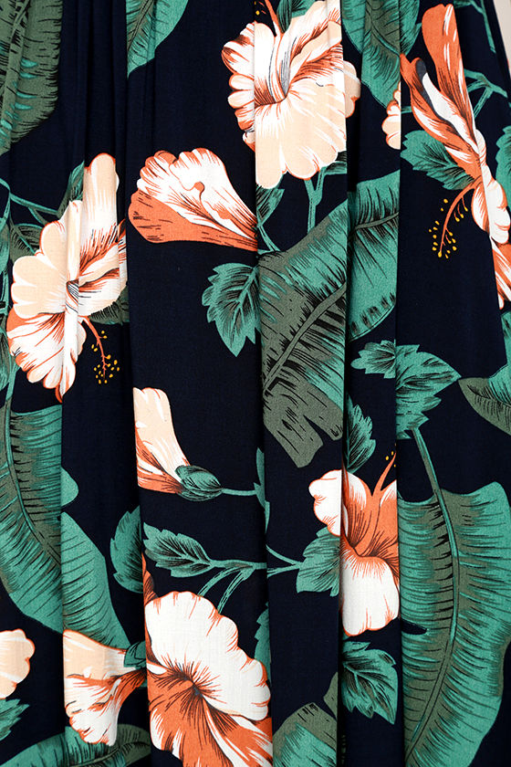 Temptation Island Navy Blue Floral Print Maxi Dress 6