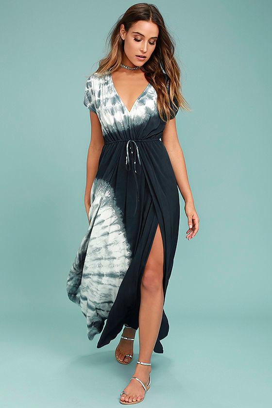 Boho Midnight Blue Tie-Dye Dress - Maxi Dress - Casual Maxi Dress ...