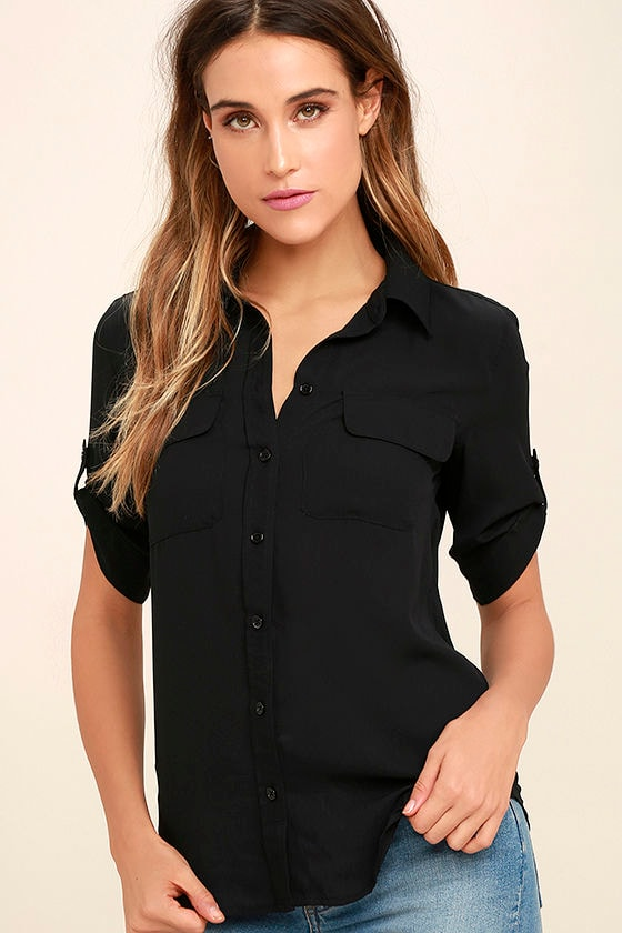 1f3741277fb Cute Black Top - Button-Up Top - Short Sleeve Top